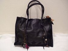 "SIMONE CAMILLE leather Black ""Simone"" Tote Chain Knit calf hair Bag Purse-NWT"