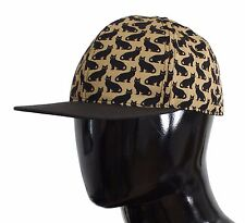 NWT $280 DOLCE & GABBANA Yellow Cat Print Cotton Cap Hat Mens Strap s. 58 / M