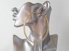 Gorgeous HUGE gold tone oversized patterned 3 row hoop earrings, NEW Big & fab!