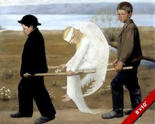 YOUNG BOYS CARING FOR INJURED ANGEL PAINTING BIBLE CHRISTIAN ART CANVAS PRINT
