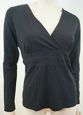 BOSS HUGO BOSS  Black Cotton Stretch Crossover V Neck Long Sleeve Sweater Top M