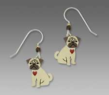 "Sienna Sky ""Pugsly"" PUG Puppy Red Heart EARRINGS STERLING Silver Dog  - Boxed"