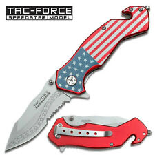 Tac Force USA American Flag Serrated Stainless Steel Blade Rescue Hunting Knife