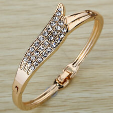 Gold Plated Crystal Rhinestone Bangle Charms Bracelet Jewelry Present Women Girl