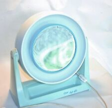 Oyster Soft Glo Makeup Mirror VTG Shabby Cottage Chic Blue Lighted MCM Retro