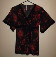 Womens Pink Eli Black & Red Kimono Blouse/Mini Dress S Small