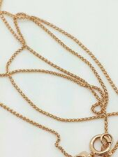 "14k Rose Gold Diamond Cut Round Wheat Necklace Pendant Chain 20"" .6mm"