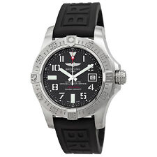 Breitling Avenger II Seawolf Black Dial Black Rubber Automatic Mens Watch