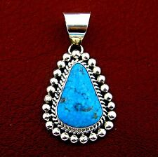 Native American Handmade Sterling Silver Turquoise Pendant --- P20 B T