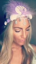 Purple Feather Diamond Shell Crown Crochet Hair Head Band Choochie Hippy Boho