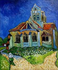 Van Gogh Church at Auvers Repro, Quality Hand Painted Oil Painting 20x24in