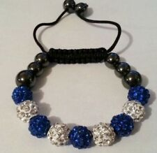 Ladies STRINGLESS Shamballa 10mm BRACELET 9 Disco Ball Clay S/blue Bead Crystals