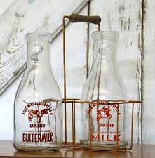 PRIMITIVE COUNTRY FARMHOUSE RUSTIC MILK BOTTLES RUSTY WIRE METAL CARRIER BASKET