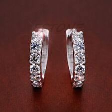 Newest Hot Women Silver Plated CZ Small Round HUGGIE Hoop Earrings