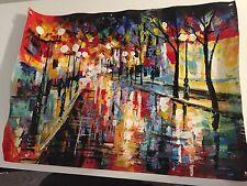 Tableau Peinture Huile La Rue sous la Pluie Toile Paysage Abstraite Peint à Main