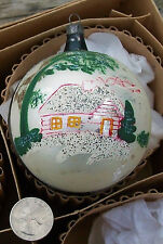 Vtg Large Glass Mica Snow CABIN in the WOODS Christmas Tree ORNAMENT Jumbo Big