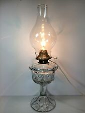 Vintage Electric Crystal Oil Lamp with Etched Globe 19 inches high