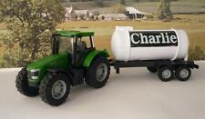 PERSONALISED NAME GIFT Green Farm Tractor & Milk Tanker Trailer Boys Girls Toy