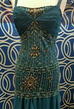 SUE WONG Nocturne Women's Used Hunter Green Long Dress Gown Beaded Size 4 Silk