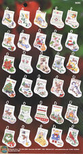 BUCILLA CHRISTMAS CROSS STITCH TINY STOCKINGS ORNAMENTS KIT SET OF 30 NEW OPENED