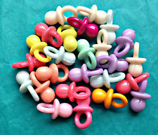 19 x DUMMY / PACIFIER CHARMS - Plastic Multi-Colour Baby Shower Christening