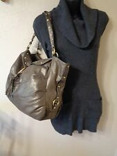 FOSSIL Pewter Metallic Distressed Leather Hobo Hippie Bag Purse Tassel Flap