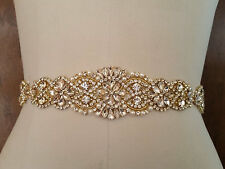 "Wedding Belt, Bridal Sash Belt - GOLD Crystal Pearl Sash Belt = 14 1/2"" long"