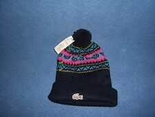 Lacoste Vintage Knit Bumble Hat Beanie Winter Black Alligator Mens Womens Small