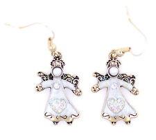 Navidad gear vintage retro estilo esmalte ángel pendientes largos con cristal
