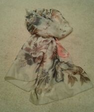 Silk floral print scarf with beaded detailing