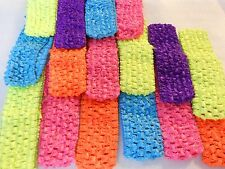 16 pcs NEON Headbands Crochet Very stretchy 1.5""