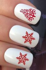 CHRISTMAS NAIL ART SET #793 RED SNOWFLAKE TREE WATER TRANSFERS DECALS STICKERS