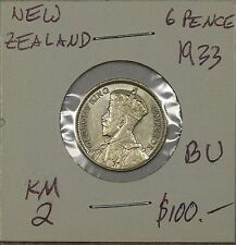 New Zealand 6 Pence 1933. Brilliant Uncirculated. KM 2