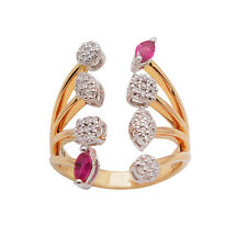 18K ROSE GOLD PAVE DIAMOND RED RUBY LONG COCKTAIL CUFF RING