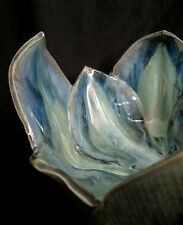 "Large sculpted art studio ceramic pottery ""Leafs"" bowl signed by artist"