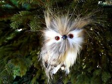 Plush Furry Feather Brown White & Black Owl Branch Ornament