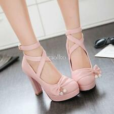 Womens Strap Buckle High Block Heels Platform Bowtie Round Toe Shoes Pink US10