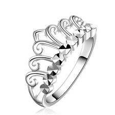 Silver Crown Prom Party women wedding bridal ring diameter 18 mm size Q FR236