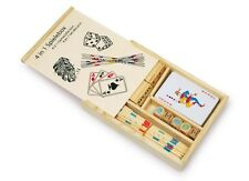 4 in 1 Game Set wooden portable cards dominoes pick up sticks poker dices travel