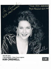 Kim Criswell American Tv &Theatre Singer and Actress  Hand Signed Photo 10 x 8