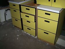 Retro 1960's - 1970's Kitchen cabinets complete set of 12 Harvest Gold Yellow