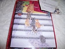 NEW Box Of 18 CATS & HEDGEHOG CHRISTMAS CARDS GLITTER Sparkle KITTENS