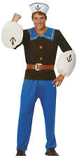 Mens Adult Sailor Man Fancy Dress Costume for Popeye the Sailor Nautical Navy