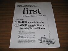 1942 Print Ad Old Gold Cigarettes Lowest in Nicotine & Tars