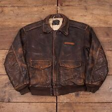 "Mens Vintage Avirex Ltd Lined Leather A2 Flight Jacket Brown L 46"" R4637"