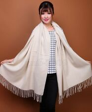New Women's Fashion White 100% Cashmere Pashmina Soft Warm Wrap Shawl Scarf