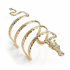 GOLD TONE COILED DRAGON DESIGN CUFF BANGLE BRACELET WITH DIAMANTE CRYSTAL DETAIL
