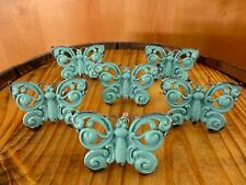 6 BLUE VINTAGE-STYLE FANCY BUTTERFLY DRAWER CABINET PULLS HANDLE KNOBS hardware