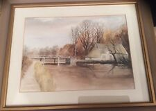 """F/G Original Watercolour """"Constable Country"""" by I.H.Fisk (Riverside Scene)"""