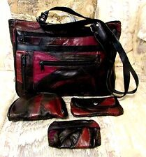LAMBSKIN LEATHER PATCHWORK SHOULDER BAG COSMETIC & COIN PURSE BUSINESS CARD HOLD